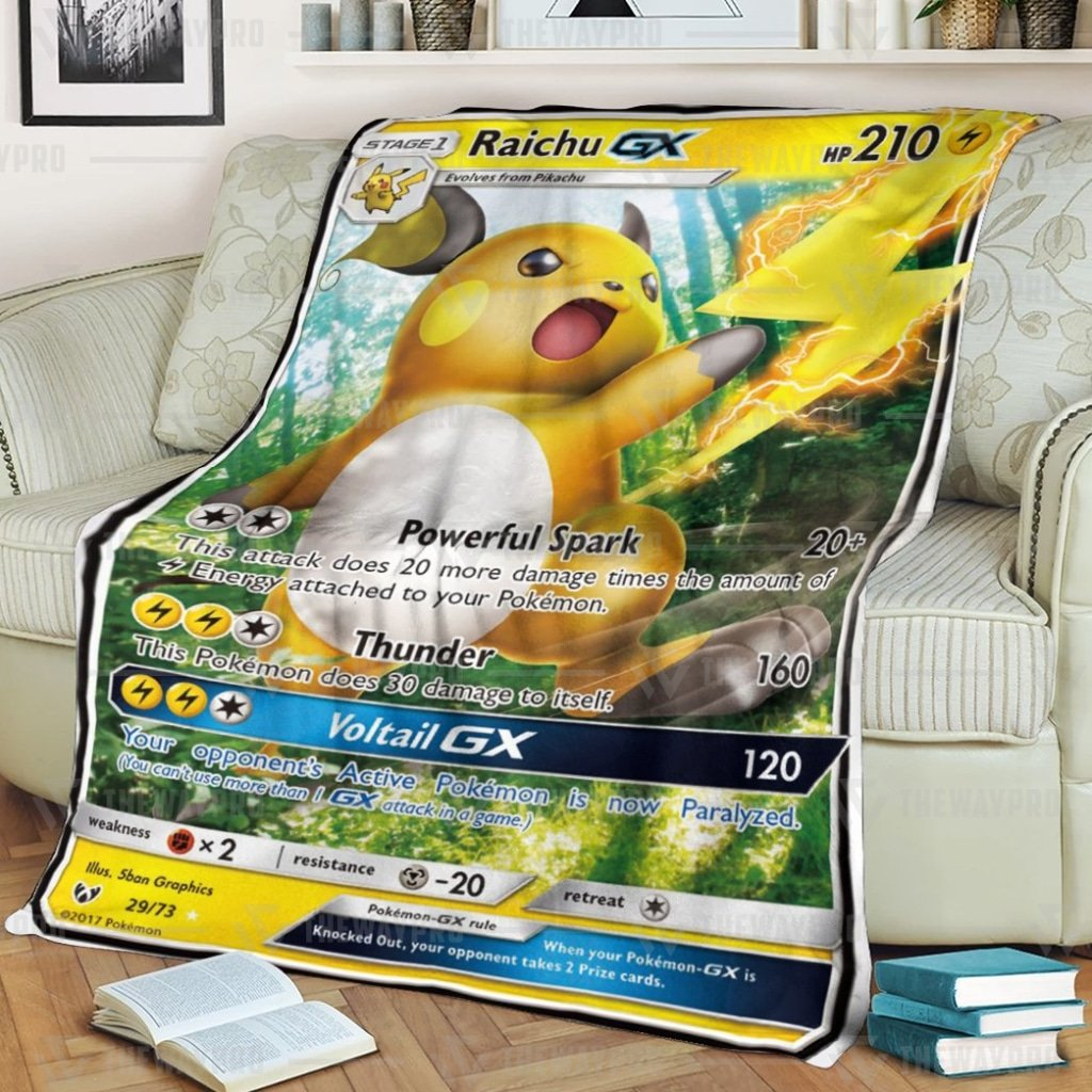 Pokemon Raichu GX Voltail Legends Fleece Blanket