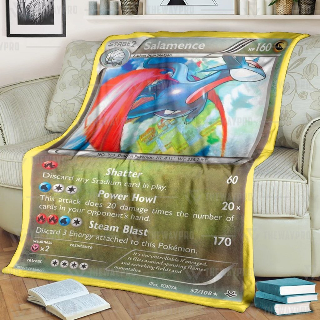 Pokemon Salamence Fleece Blanket