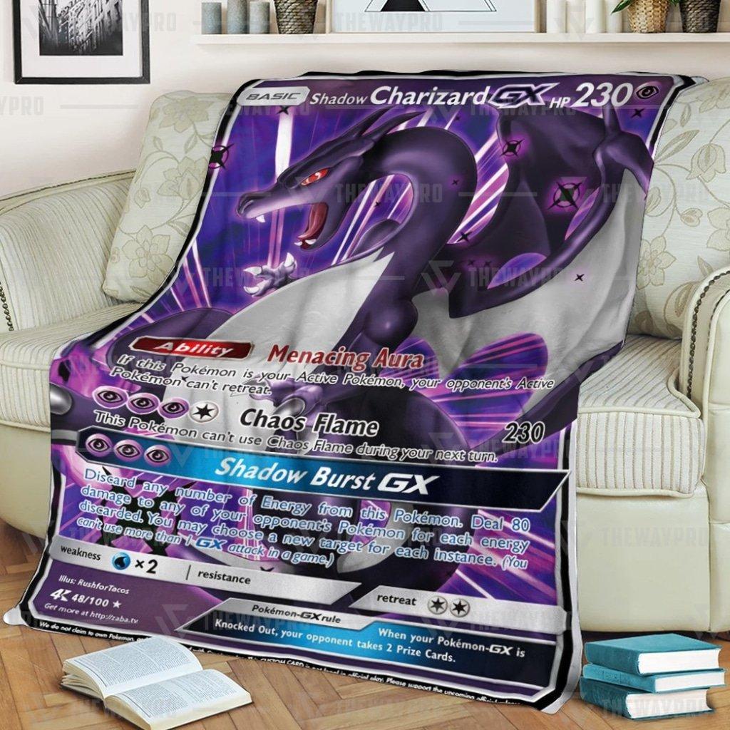 Anime Pokemon Shadow Charizard Burst GX Fleece Blanket