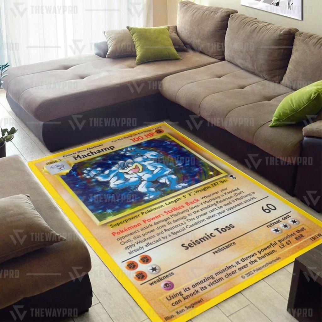 Pokemon Shadowless Holographic Machamp Carpet Rug