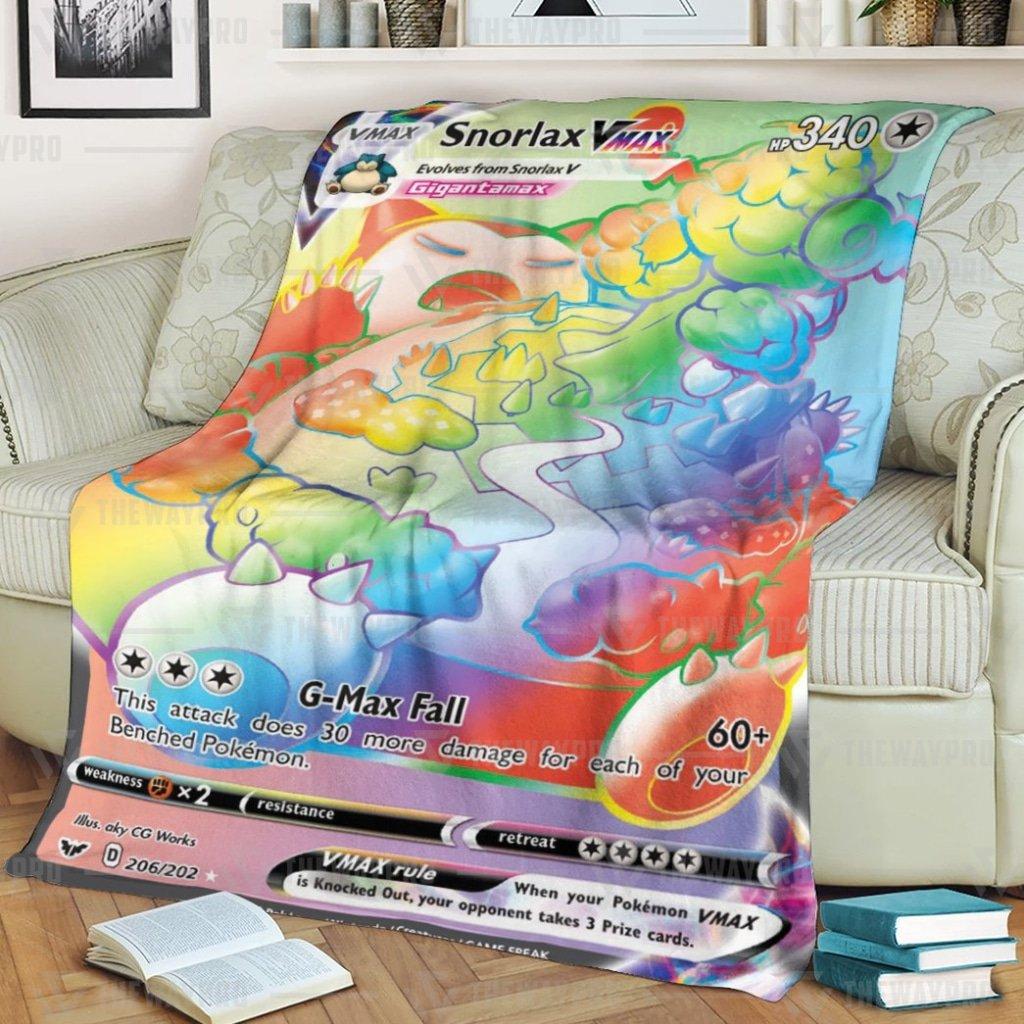 Anime Pokemon Snorlax VMAX Sword and Shield colorful Fleece Blanket