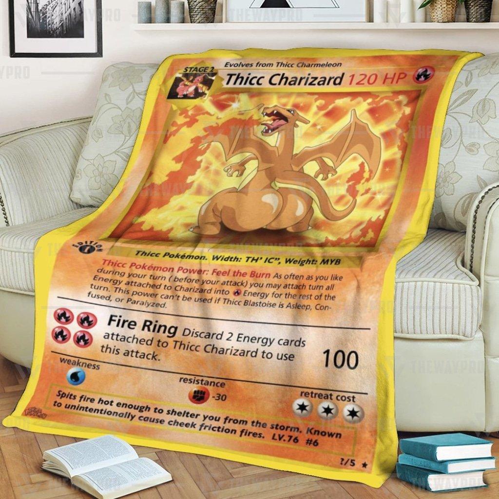 Pokemon Thicc Charizard Funny Fleece Blanket