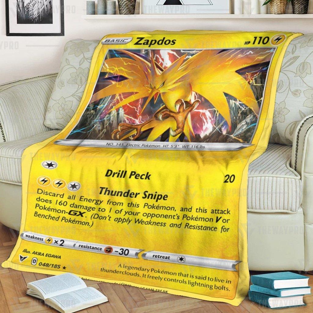 Anime Pokemon Zapdos Vivid Voltage Fleece Blanket