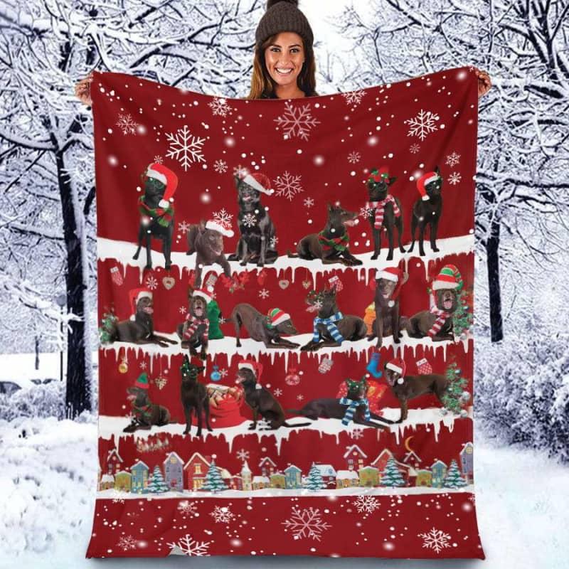 Australian Kelpie Christmas Fleece Blanket for Dog Lover