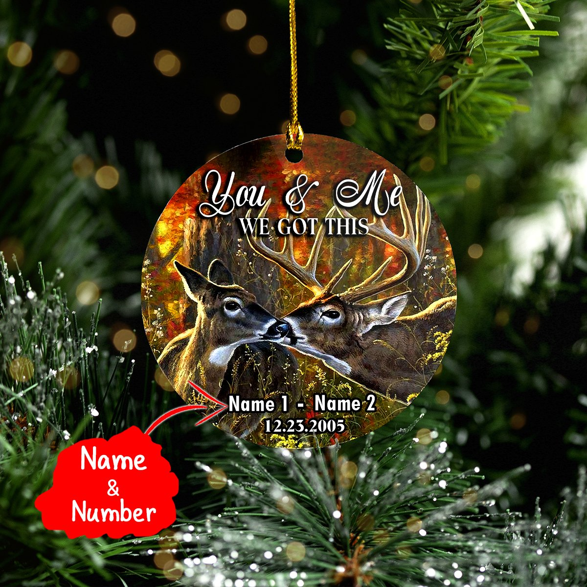 CUSTOM Name Deer Couple 2-Sided ORNAMENT