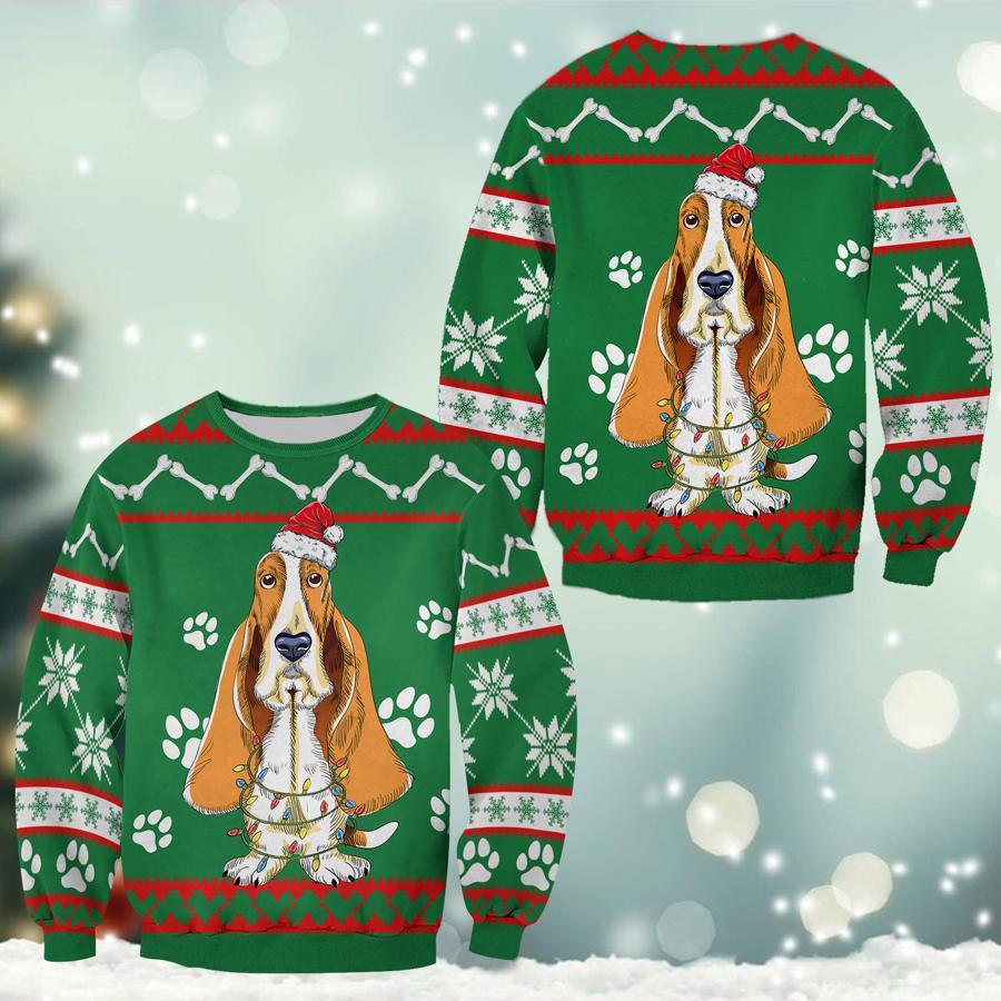 Basset Hound Green Christmas Sweatshirt