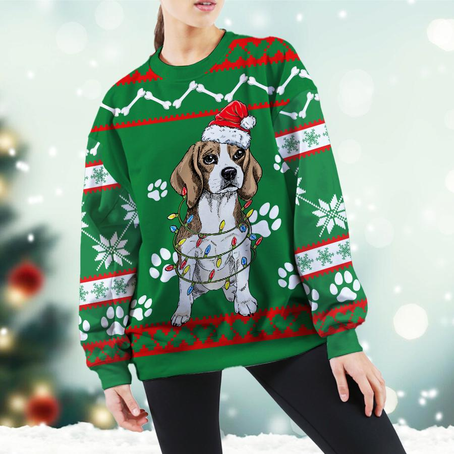 Beagle Green Christmas Sweatshirt