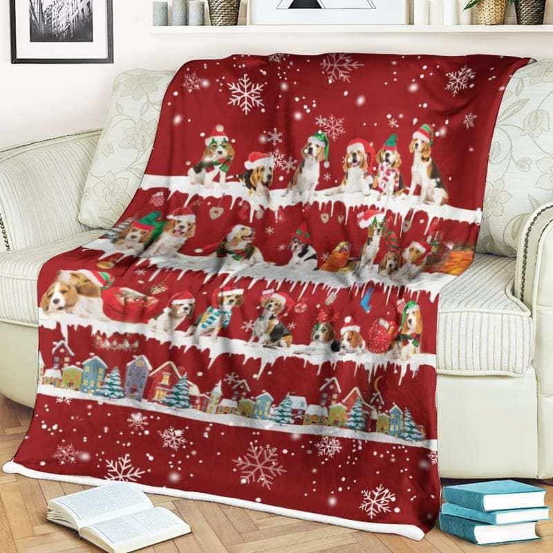 Beagle Christmas Fleece Blanket for Dog Lover