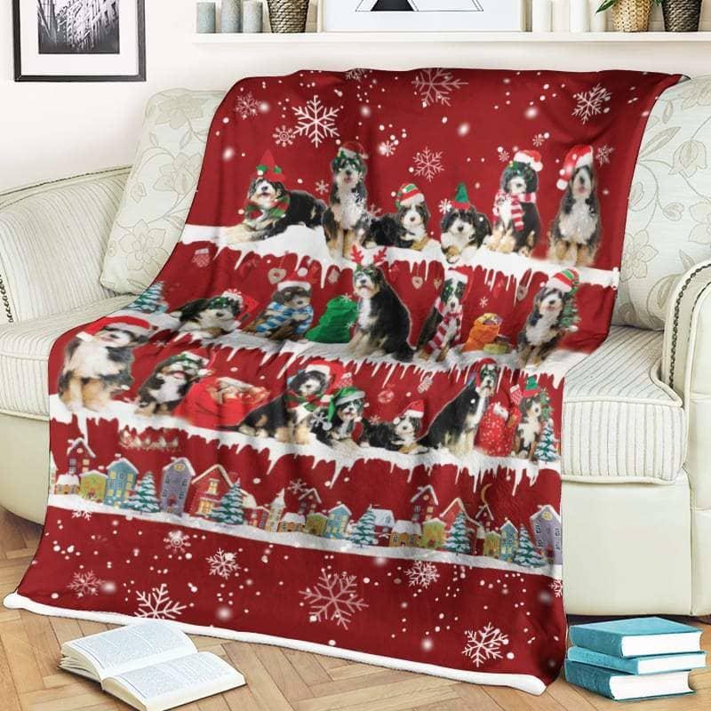 Bernedoodle Christmas Fleece Blanket for Dog Lover