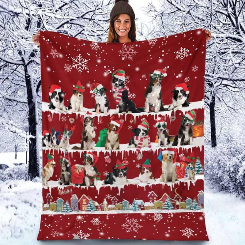 Border Collie Christmas Fleece Blanket for Dog Lover