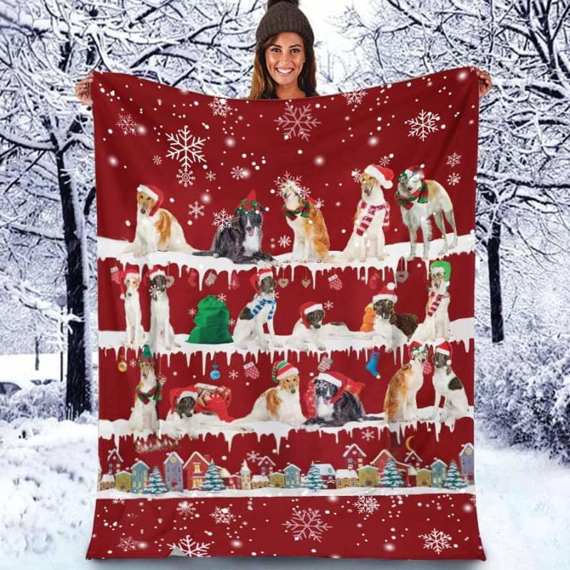 Borzoi Christmas Fleece Blanket for Dog Lover