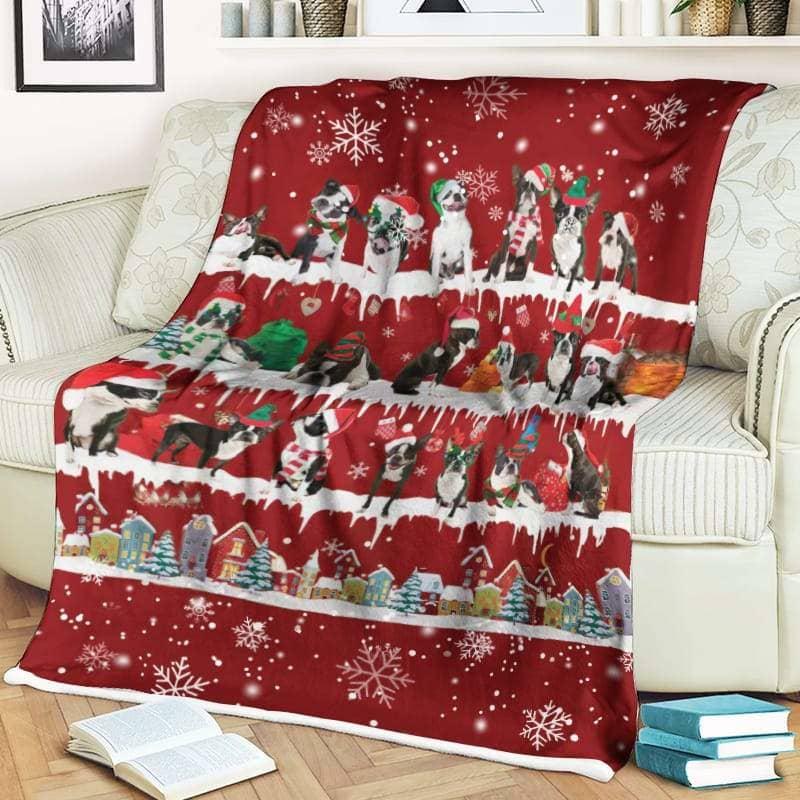 Boston Terrier Christmas Fleece Blanket for Dog Lover