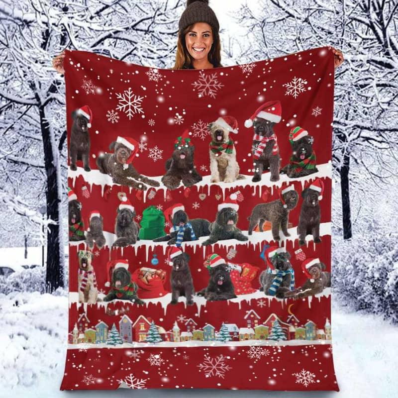 Bouvier Des Flandres Christmas Fleece Blanket for Dog Lover