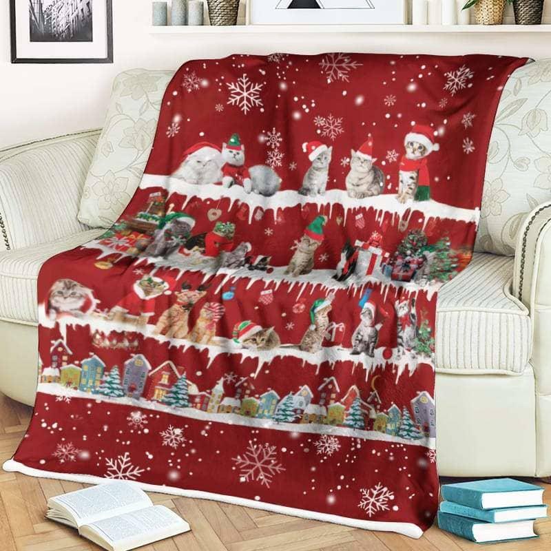 Cat Christmas Fleece Blanket for Dog Lover