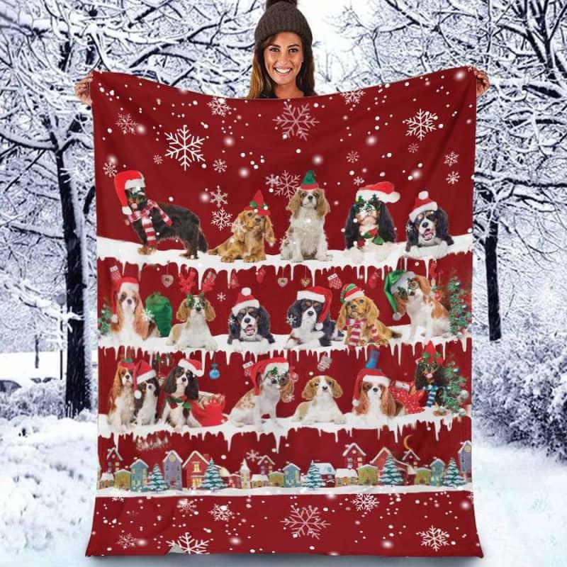 Cavalier King Charles Spaniel Christmas Fleece Blanket for Dog Lover