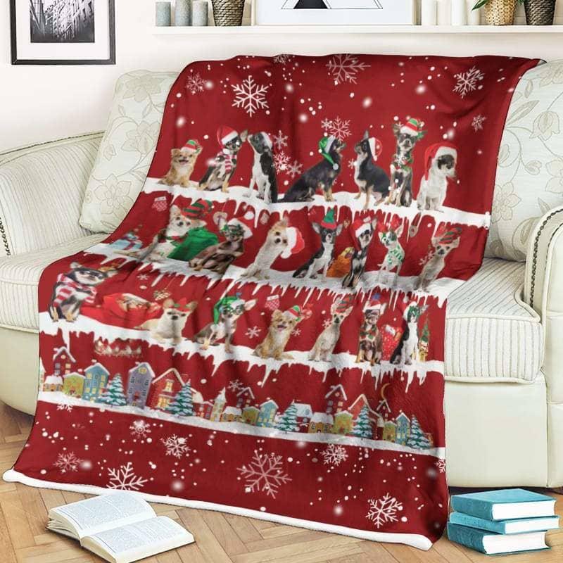 Chihuahua Christmas Fleece Blanket for Dog Lover