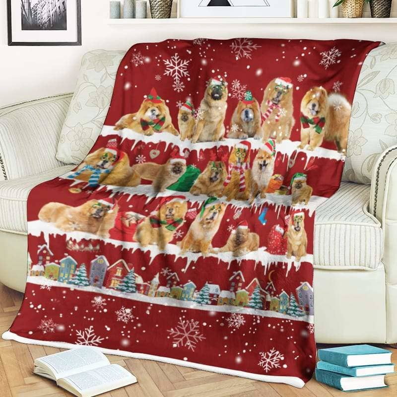 Chow Chow Christmas Fleece Blanket for Dog Lover