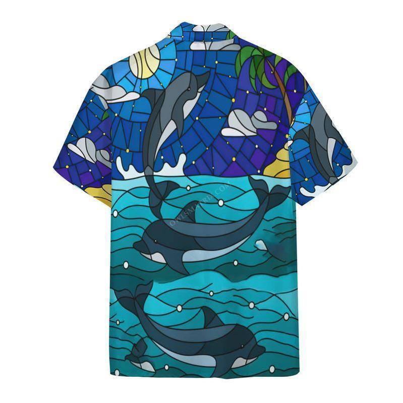 Dolphin Stained Glass Style 3D Printed Hawaiian Shirt