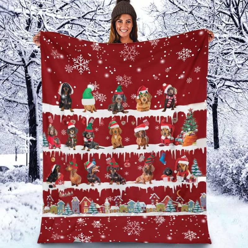 Dachshund Christmas Fleece Blanket for Dog Lover