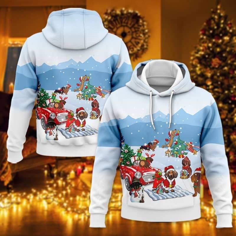 Dachshund Christmas 3D Hoodie