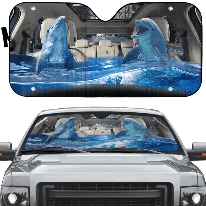 Dolphin Funny Life Ocean Car Sunshade