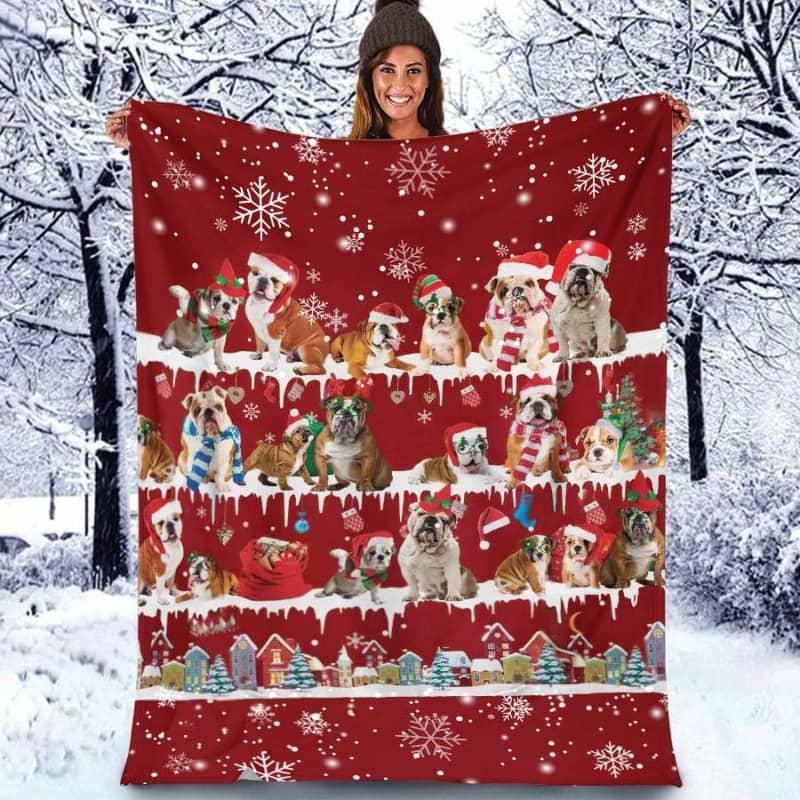 English Bulldog Christmas Fleece Blanket for Dog Lover