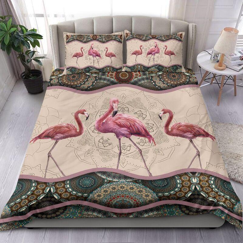 Flamingo mandala style Bedding set