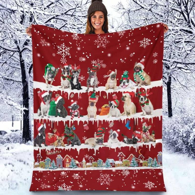 French Bulldog Christmas Fleece Blanket for Dog Lover