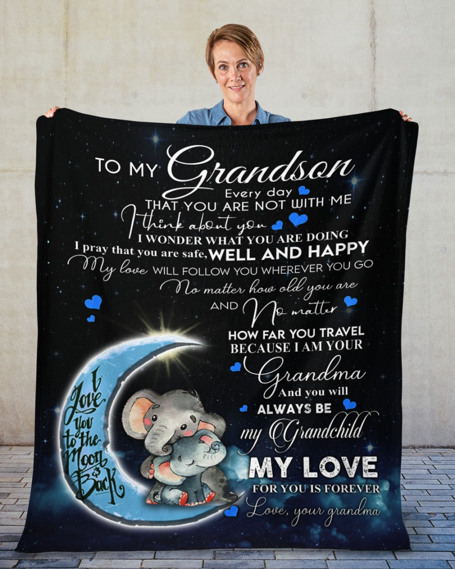 Gift for your grandson Love you to the moon and back Fleece Blanket
