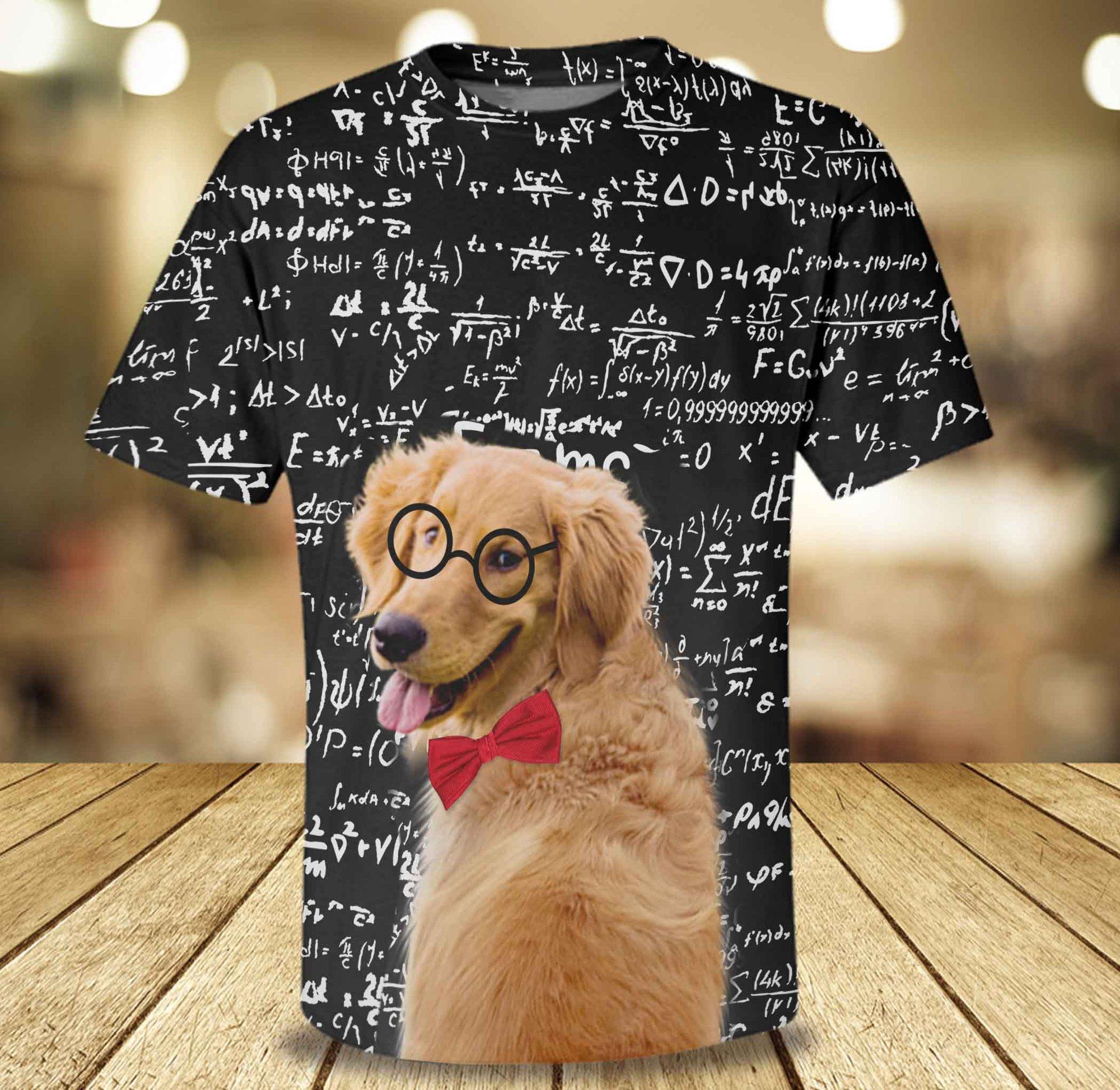 golden retriever loves math 3d AOP Hoodie and Sweatshirt
