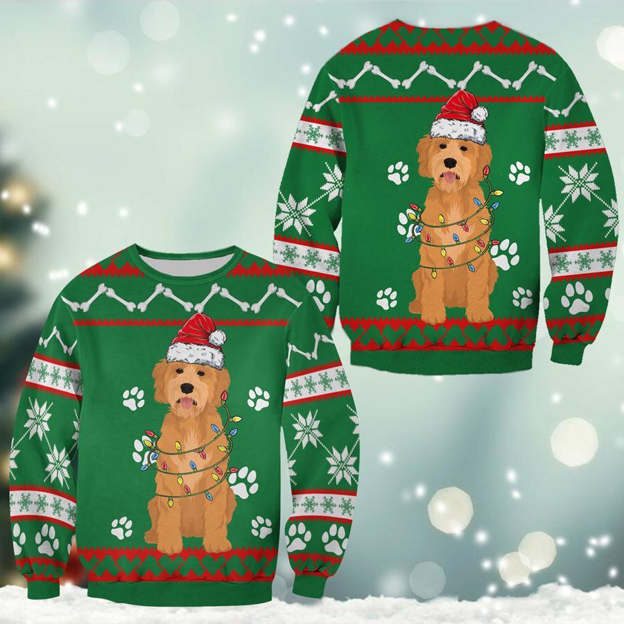 Golden Doodle Green Christmas Sweatshirt