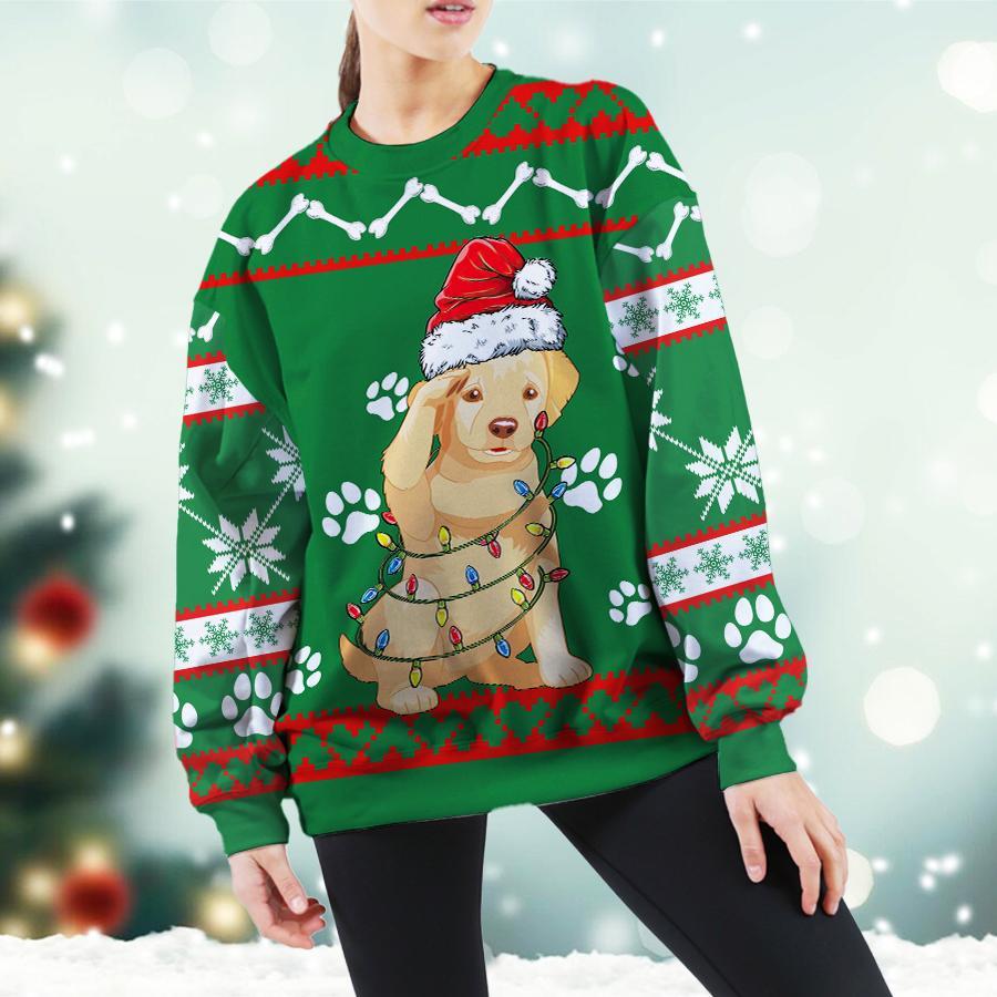 Golden Retriever Green Christmas Sweatshirt