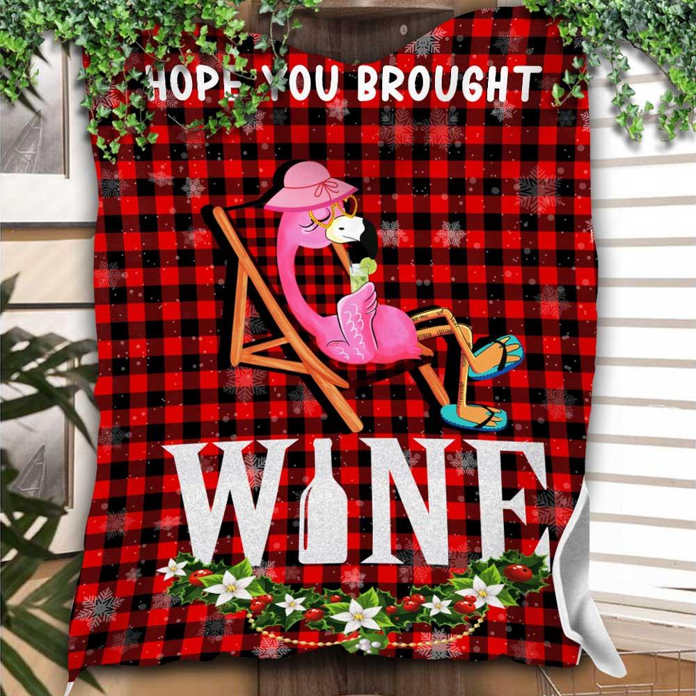 Flamingos Hope You Bought Wine Christmas Blanket