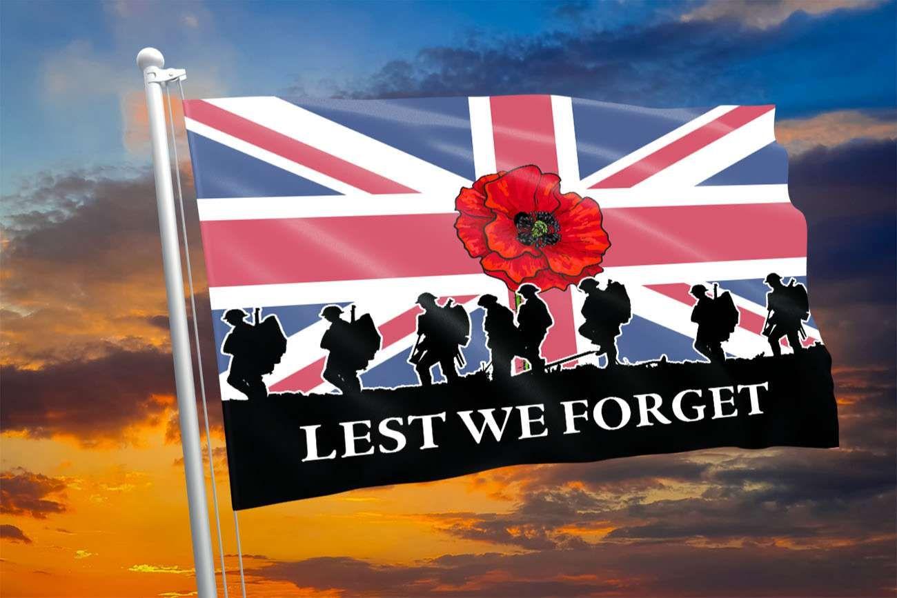 UK Veteran Lest We Forget United Kingdom Printed Flag