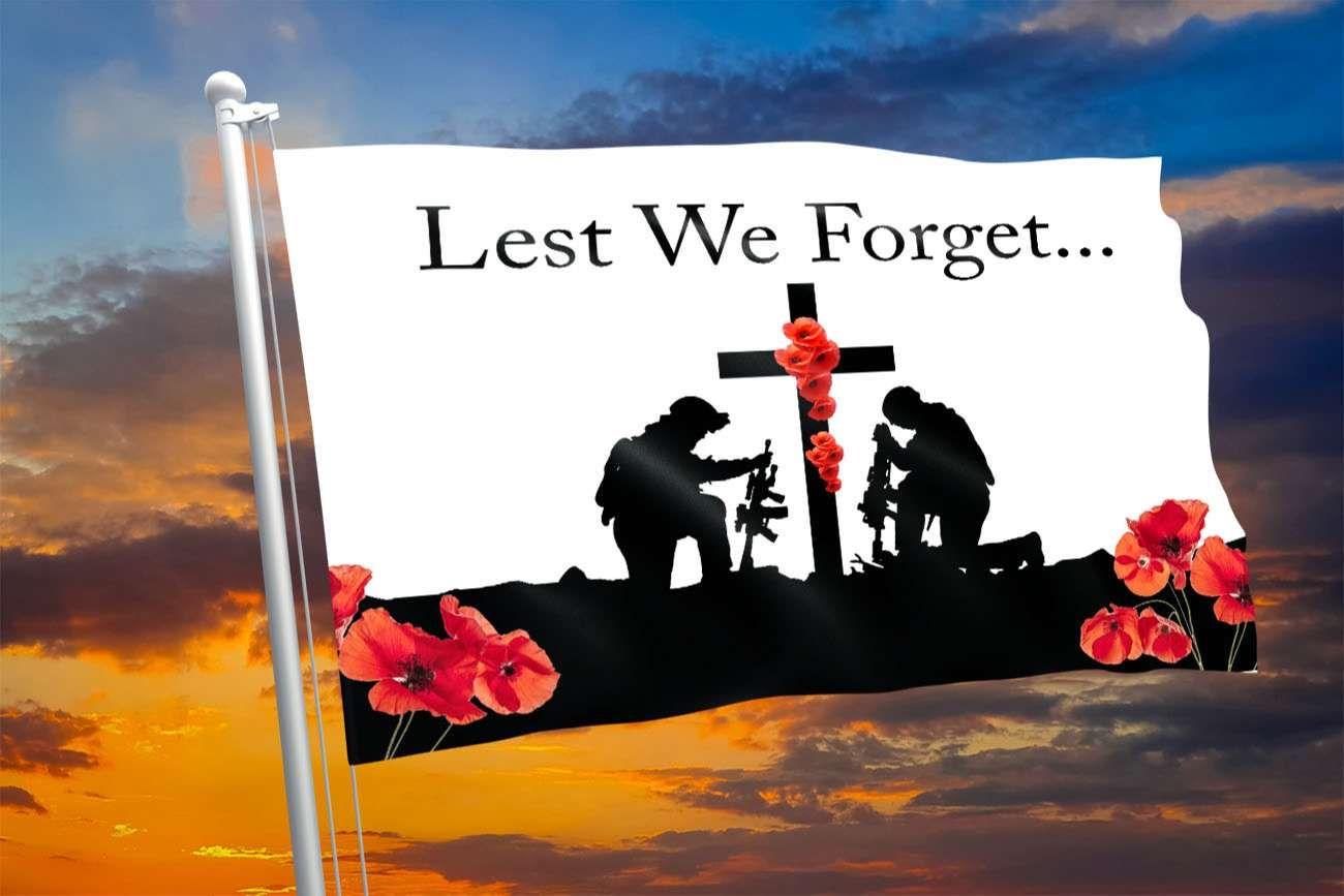 Lest We Forget soldier kneel Flag