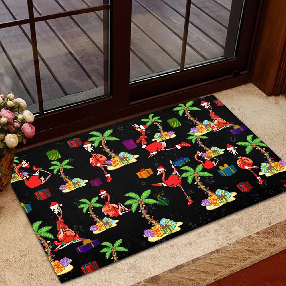 Flamingo black Doormat For Christmas
