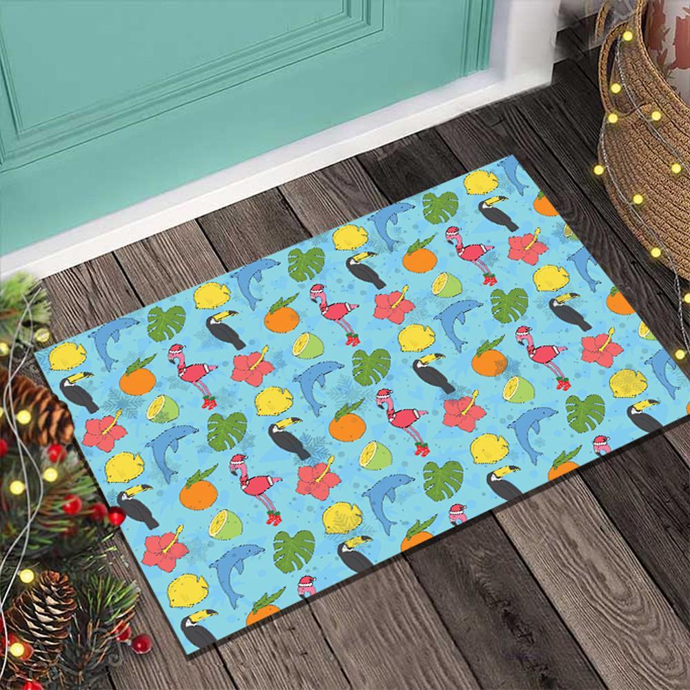 Flamingo and fruit Flamingomas Blue Doormat