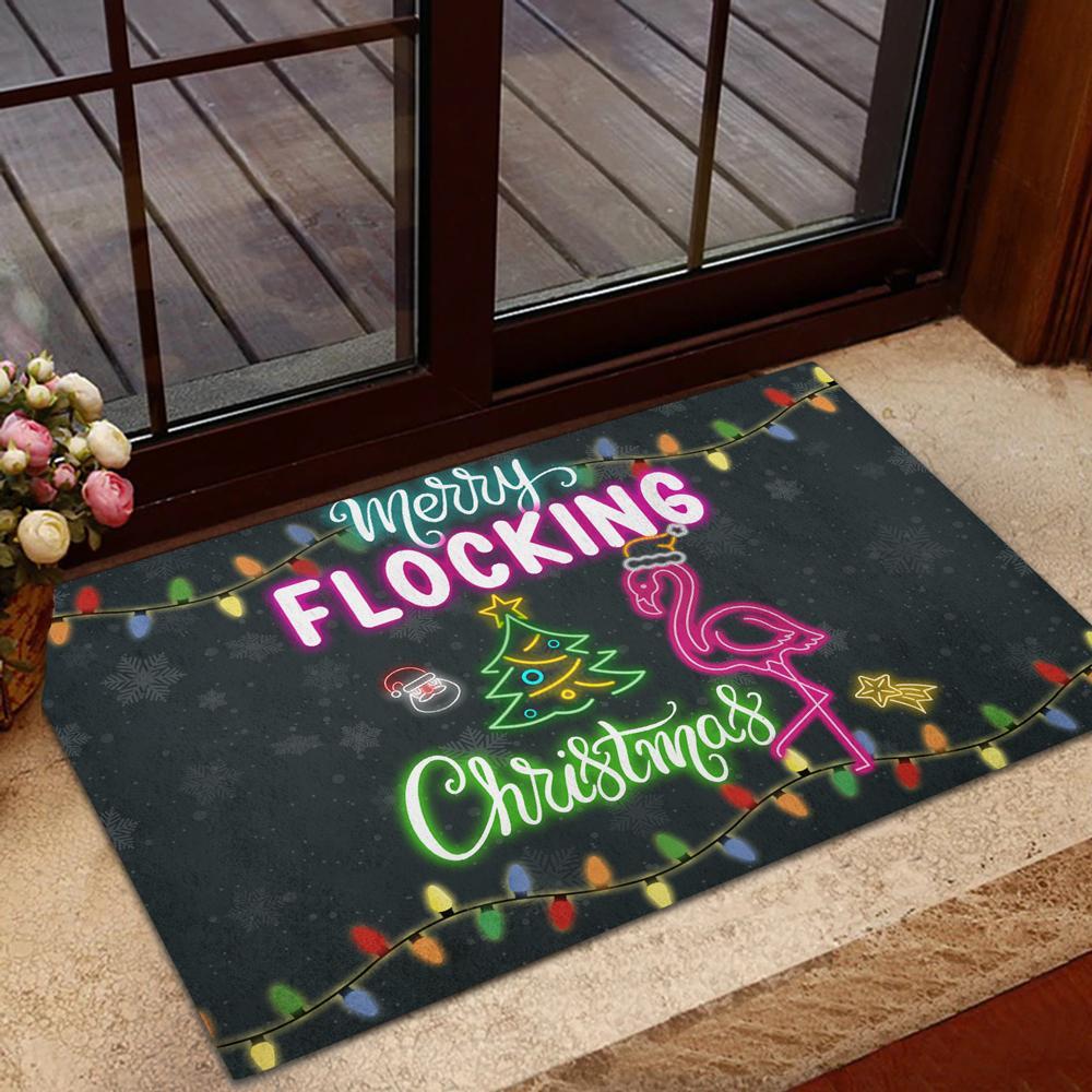 Flamingo Doormat Merry Flocking Christmas