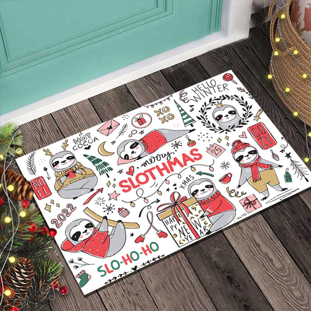 Sloth Doormat Merry Christmas Slohoho White