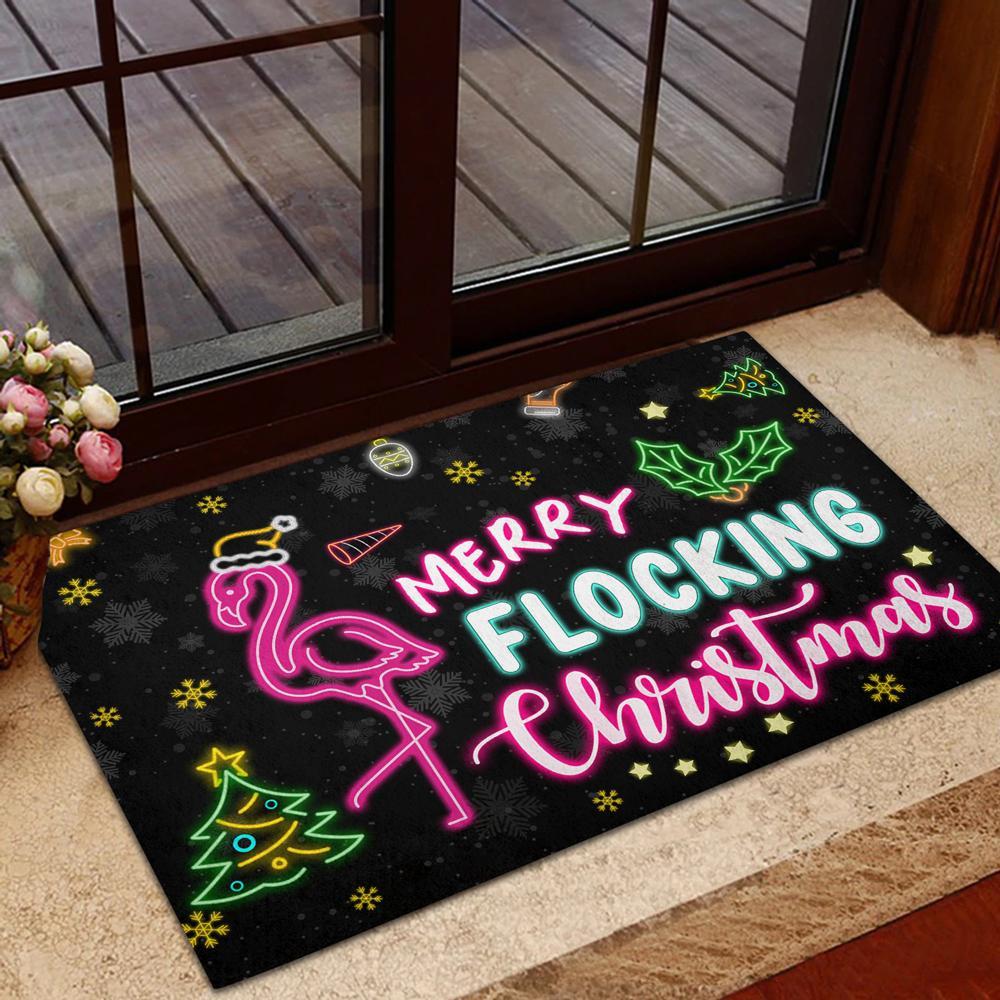 Flamingo Doormat Merry Flocking Christmas 2021