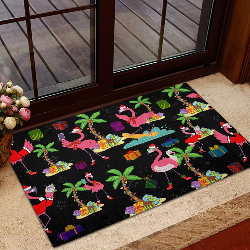 Flamingo Christmas black Doormat