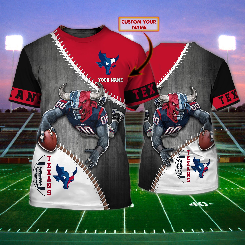Custom Name NFL Houston Texans Touchdown 3D T-shirt