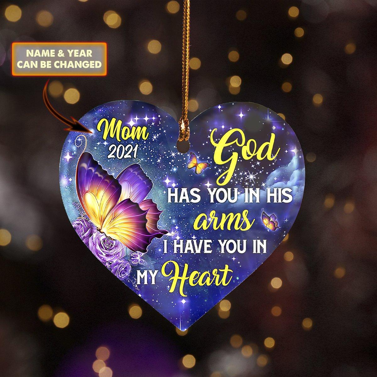Custom Name 2-Sided ORNAMENT MOM IN HEAVEN God Has You