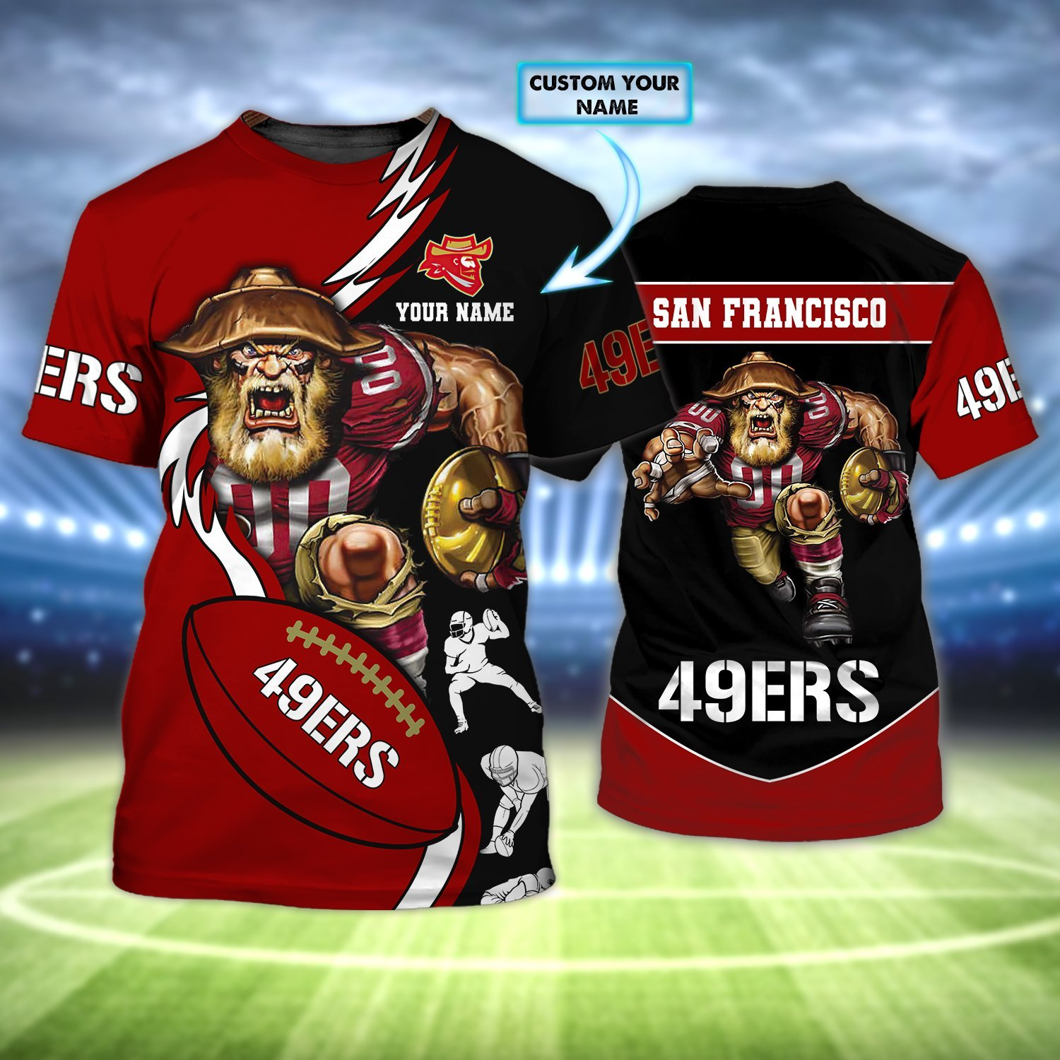 Personalized NFL San Francisco 49Ers Old Player Rushing AOP T-shirt