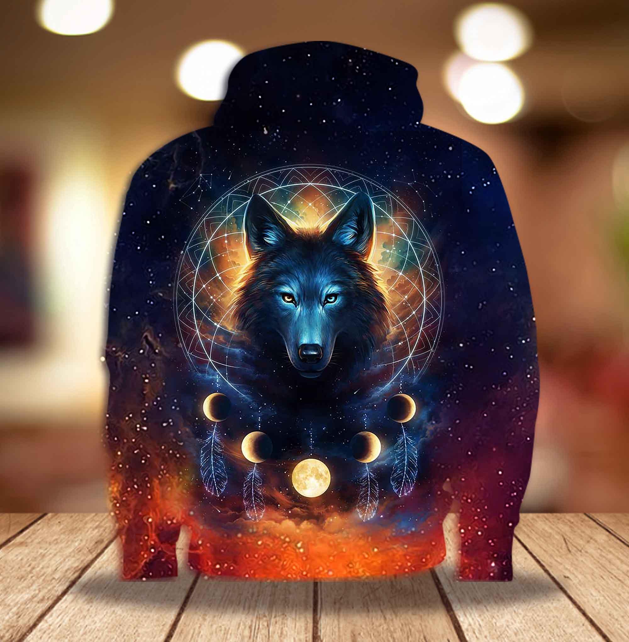 Mystery Wolf Dreamcatcher night star sky 3D Printed Hoodie T-shirt