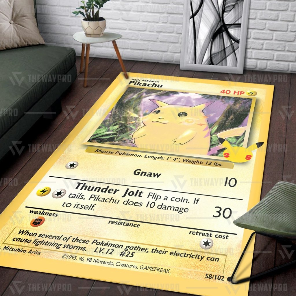 Pokemon Pikachu Card Carpet Rug