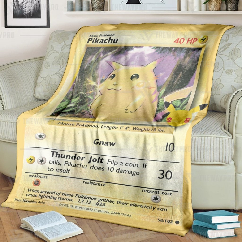 Pokemon Pikachu Card Fleece Blanket