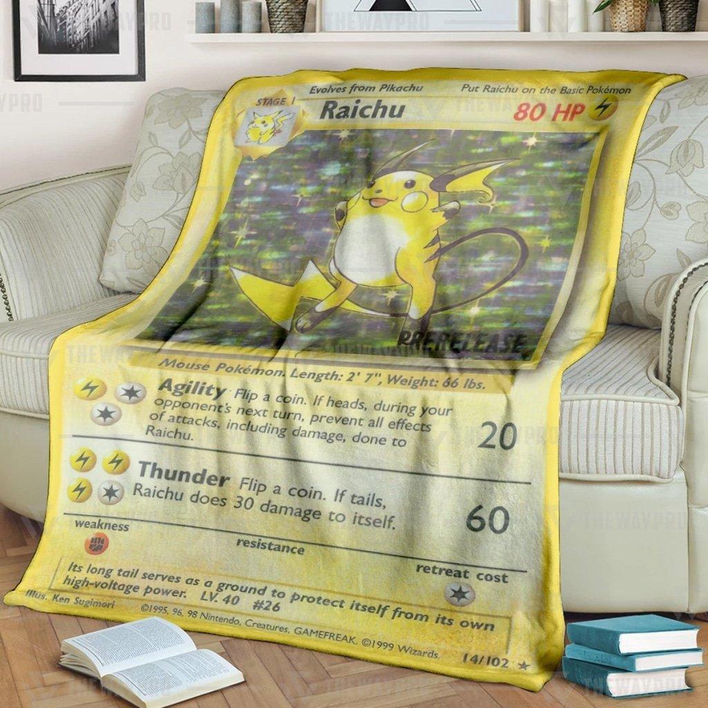 Pokemon Raichu Card Fleece Blanket