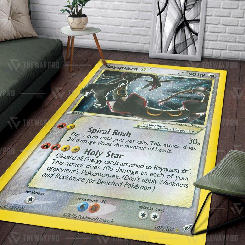 Pokemon Rayquaza Card Carpet Rug