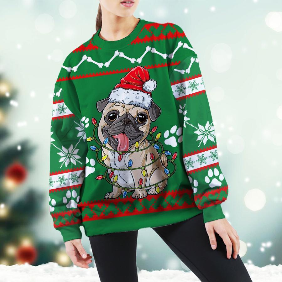 Pug Green Christmas Sweatshirt